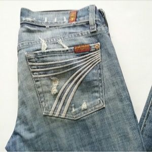 "7 For All Mankind Dojo Destroyed Jeans 36"" inseam"
